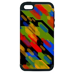 Colorful Shapes On A Black Background Apple Iphone 5 Hardshell Case (pc+silicone) by LalyLauraFLM