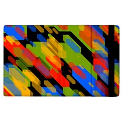 Colorful Shapes On A Black Background Apple Ipad 2 Flip Case by LalyLauraFLM