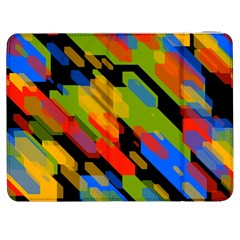Colorful Shapes On A Black Background Samsung Galaxy Tab 7  P1000 Flip Case by LalyLauraFLM