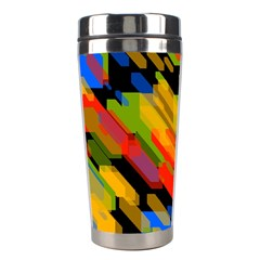 Colorful Shapes On A Black Background Stainless Steel Travel Tumbler