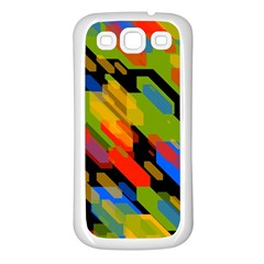 Colorful Shapes On A Black Background Samsung Galaxy S3 Back Case (white) by LalyLauraFLM