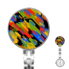Colorful Shapes On A Black Background Stainless Steel Nurses Watch by LalyLauraFLM