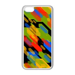 Colorful Shapes On A Black Background Apple Iphone 5c Seamless Case (white) by LalyLauraFLM