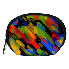 Colorful Shapes On A Black Background Accessory Pouch (medium)