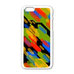 Colorful Shapes On A Black Background Apple Iphone 6 White Enamel Case by LalyLauraFLM
