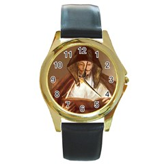 Anonymous Reading Round Leather Watch (gold Rim)  by AnonMart
