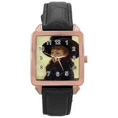 Anonymous Reading Rose Gold Leather Watch