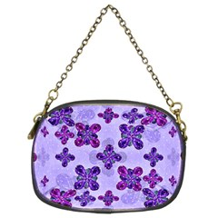 Deluxe Ornate Pattern Design In Blue And Fuchsia Colors Chain Purse (two Sided)