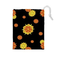 Floral Print Modern Style Pattern  Drawstring Pouch (large) by dflcprints