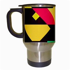 Shapes In Retro Colors 2 Travel Mug (white) by LalyLauraFLM