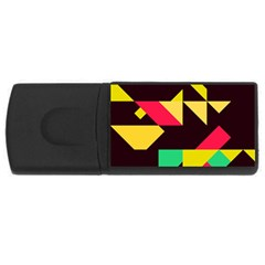 Shapes In Retro Colors 2 Usb Flash Drive Rectangular (4 Gb) by LalyLauraFLM