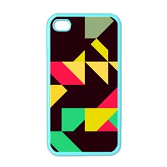 Shapes In Retro Colors 2 Apple Iphone 4 Case (color) by LalyLauraFLM