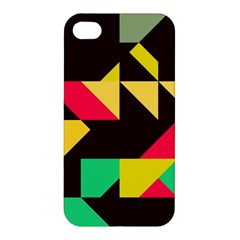 Shapes In Retro Colors 2 Apple Iphone 4/4s Hardshell Case by LalyLauraFLM