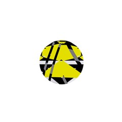 Yellow, Black And White Pieces Abstract Design 1  Mini Button by LalyLauraFLM