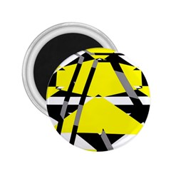 Yellow, Black And White Pieces Abstract Design 2 25  Magnet by LalyLauraFLM