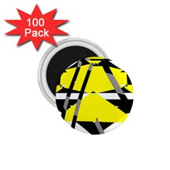 Yellow, Black And White Pieces Abstract Design 1 75  Magnet (100 Pack)  by LalyLauraFLM
