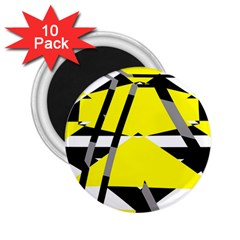 Yellow, Black And White Pieces Abstract Design 2 25  Magnet (10 Pack) by LalyLauraFLM