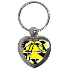 Yellow, Black And White Pieces Abstract Design Key Chain (heart) by LalyLauraFLM