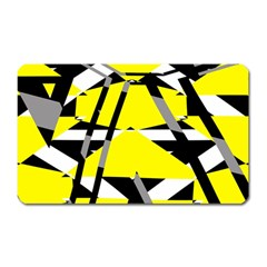 Yellow, Black And White Pieces Abstract Design Magnet (rectangular) by LalyLauraFLM