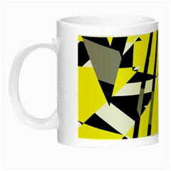 Yellow, Black And White Pieces Abstract Design Night Luminous Mug by LalyLauraFLM