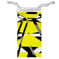 Yellow, Black And White Pieces Abstract Design Jewelry Bag by LalyLauraFLM