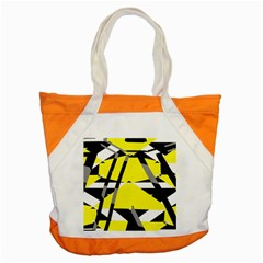 Yellow, Black And White Pieces Abstract Design Accent Tote Bag by LalyLauraFLM