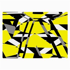 Yellow, Black And White Pieces Abstract Design Glasses Cloth (large)