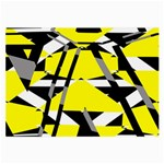 Yellow, black and white pieces abstract design Glasses Cloth (Large) Front