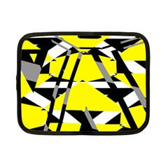Yellow, Black And White Pieces Abstract Design Netbook Case (small) by LalyLauraFLM
