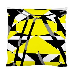 Yellow, Black And White Pieces Abstract Design Standard Cushion Case (two Sides) by LalyLauraFLM