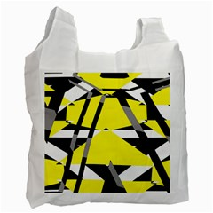 Yellow, Black And White Pieces Abstract Design Recycle Bag (one Side) by LalyLauraFLM