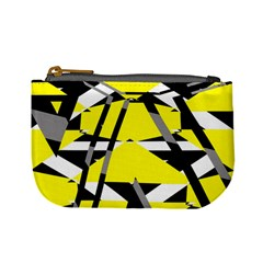 Yellow, Black And White Pieces Abstract Design Mini Coin Purse by LalyLauraFLM