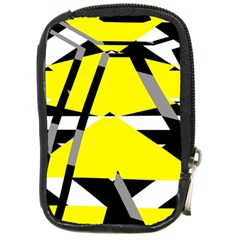 Yellow, Black And White Pieces Abstract Design Compact Camera Leather Case by LalyLauraFLM