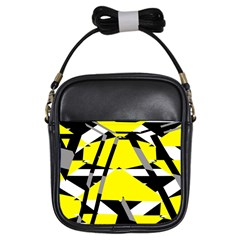 Yellow, Black And White Pieces Abstract Design Girls Sling Bag by LalyLauraFLM