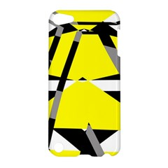 Yellow, Black And White Pieces Abstract Design Apple Ipod Touch 5 Hardshell Case by LalyLauraFLM