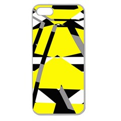 Yellow, Black And White Pieces Abstract Design Apple Seamless Iphone 5 Case (clear) by LalyLauraFLM