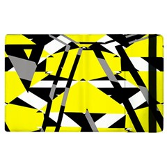 Yellow, Black And White Pieces Abstract Design Apple Ipad 2 Flip Case by LalyLauraFLM