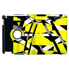 Yellow, Black And White Pieces Abstract Design Apple Ipad 3/4 Flip 360 Case by LalyLauraFLM