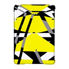 Yellow, Black And White Pieces Abstract Design Apple Ipad Mini Hardshell Case (compatible With Smart Cover) by LalyLauraFLM