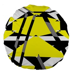 Yellow, Black And White Pieces Abstract Design 18  Premium Round Cushion  by LalyLauraFLM