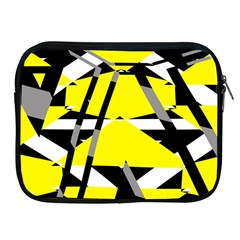 Yellow, Black And White Pieces Abstract Design Apple Ipad 2/3/4 Zipper Case by LalyLauraFLM
