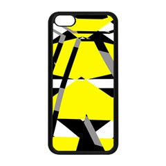 Yellow, Black And White Pieces Abstract Design Apple Iphone 5c Seamless Case (black) by LalyLauraFLM