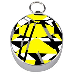 Yellow, Black And White Pieces Abstract Design Silver Compass by LalyLauraFLM