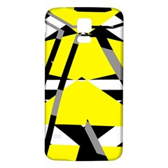 Yellow, Black And White Pieces Abstract Design Samsung Galaxy S5 Back Case (white) by LalyLauraFLM