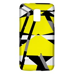 Yellow, Black And White Pieces Abstract Design Samsung Galaxy S5 Mini Hardshell Case  by LalyLauraFLM