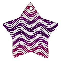 Purple Waves Pattern Ornament (star) by LalyLauraFLM