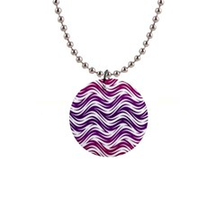 Purple Waves Pattern 1  Button Necklace by LalyLauraFLM