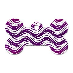 Purple Waves Pattern Dog Tag Bone (two Sides) by LalyLauraFLM