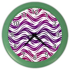 Purple Waves Pattern Color Wall Clock by LalyLauraFLM