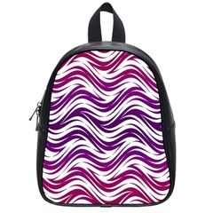 Purple Waves Pattern School Bag (small) by LalyLauraFLM
